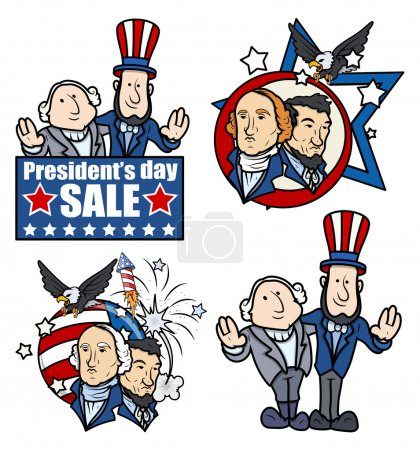 Постер, плакат: Washington & Lincoln Presidents Day Cartoons and Clip Art, холст на подрамнике