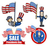 Drawing Art of Various Clip-Art and Design for Presidents Day Vector Illustration