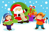Santa Claus carrying present bags and holding a name list with k