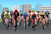 A vector illustration of group of people in a bicycle race