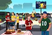 Americký fotbal fanoušci mají na zábavu
