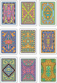 Backs of playing cards Set of original color vector designs