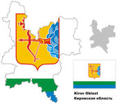 Outline map of Kirov Oblast with flag Regions of Russia Vector illustration