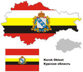 Outline map of Kursk Oblast with flag Regions of Russia Vector illustration
