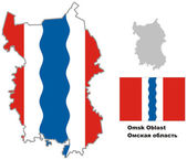 Outline map of Omsk Oblast with flag Regions of Russia Vector illustration