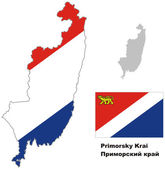 Outline map of Primorsky Krai with flag Regions of Russia Vector illustration