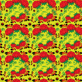 Seamless floral pattern with raspberries in the style of Russian khokhloma