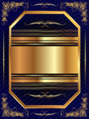 Gold frame with a dark pattern and plant elements