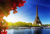 Senna a Parigi con la torre eiffel in tempo dautunno