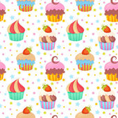 Cute colorful seamless pattern with delicious muffins and cupcakes
