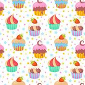 Roztomilý barevný bezešvé vzor s muffiny