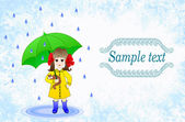 Girl in a yellow raincoat with umbrella on green grange turquoise background - design for children's umbrellas