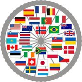 Vector illustration of flags of countries in the Tour de France 2013