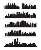 Vector black city icons set on gray