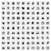 Vector black 100 web icons set on gray
