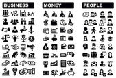 Vector black business money and icons set