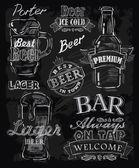 Vector chalk beer on chalkboard background