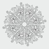 Modello ornamentale rotondo pizzo floreale. motivo floreale caleidoscopico, mandala