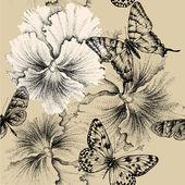 Nahtlose Muster mit Stiefmütterchen und Schmetterlingen. Vektor-illustrati