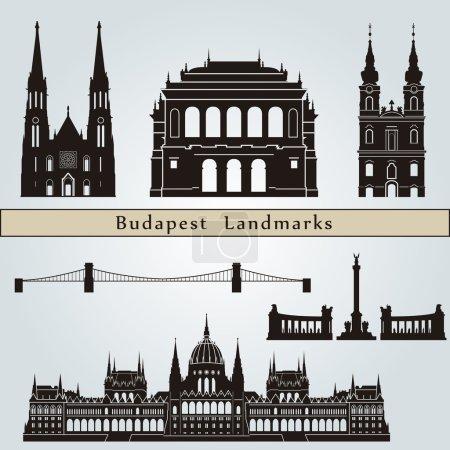 Постер, плакат: Budapest landmarks and monuments, холст на подрамнике