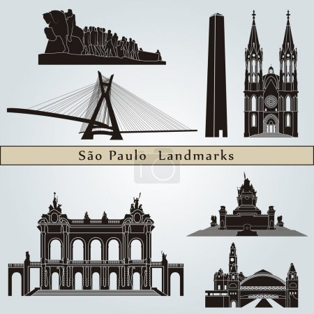 Постер, плакат: Sao Paulo landmarks and monuments, холст на подрамнике