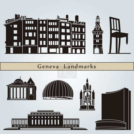 Постер, плакат: Geneva landmarks and monuments, холст на подрамнике