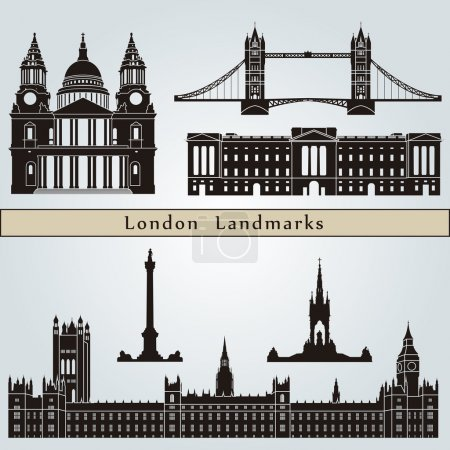 Постер, плакат: London landmarks and monuments, холст на подрамнике