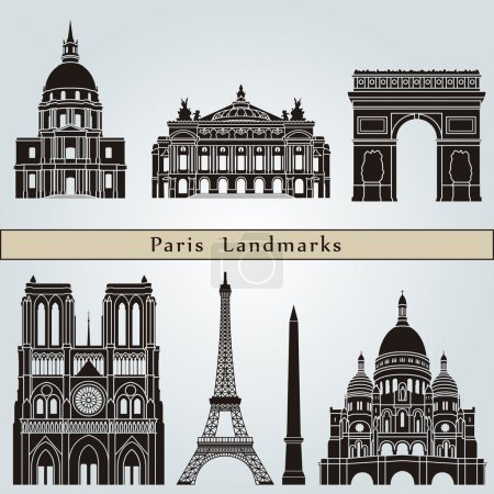 Постер, плакат: Paris landmarks and monuments, холст на подрамнике