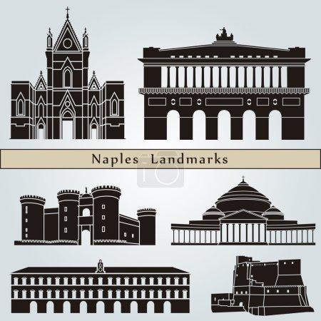 Постер, плакат: Naples landmarks and monuments, холст на подрамнике