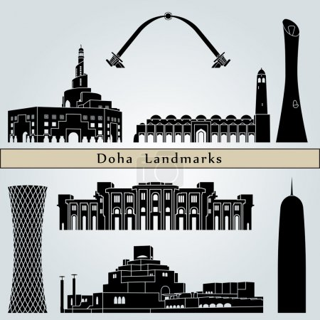 Постер, плакат: Doha landmarks and monuments, холст на подрамнике