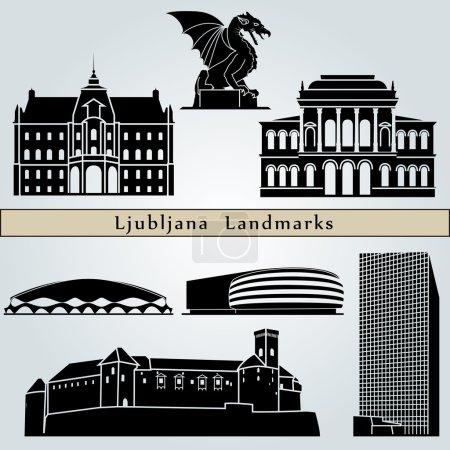 Постер, плакат: Ljubljana landmarks and monuments, холст на подрамнике