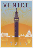 Venice vintage poster in orange and blue textured background with skyiline in white