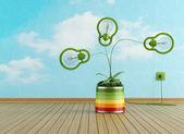 Prázdná místnost s zelenou lampou v barevné vázy