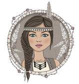 Roztomilý indiánské děvče a peří rám