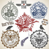 Set of stamps with symbols rocknroll