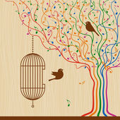 Birdcage on abstract musical tree in retro style Vector illustration with clipping mask