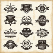 A set of fully editable vintage premium quality labels in woodcut style EPS10 vector illustration