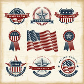 A set of fully editable vintage American labels and badges in woodcut style EPS10 vector illustration