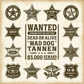 A set of fully editable vintage sheriff marshal and ranger badges in woodcut style EPS10 vector illustration