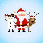 Santa claus s veselý jelen a sněhulák
