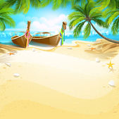 Paradise island with boats and palm trees Vector illustration