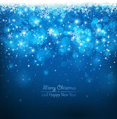 Blue background with falling snowflakes