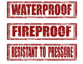 Set of grunge rubber stamps with text waterprooffireproof and resistant to pressurevector illustration