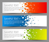 Simple colorful horizontal banners - with circle motive - red blue and green