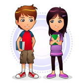 Image of boy and girl holding their books EPS8 vector file