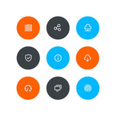 Wireless and hosting icons Flat style