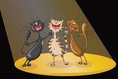 Three happy cats singing cheerful song in spotlights beam on scene Illustration vector