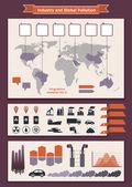 Az ipar és a környezetszennyezés infographics elemek