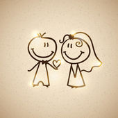 Hand drawn wedding couple on realistic textured cardboard vector eps 10