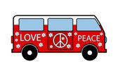 Hippie minibus icon on white background Vector illustration